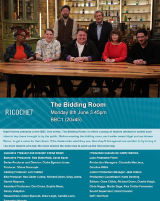 If you're at home (ha ha!) and fancy watching a nice bit of fun tele, check out #thebiddingroom today (and everyday this week) on BBC One at 3.45pm. Feels like a lifetime ago. Good memories. Great team.