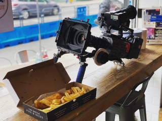 The benefits of filming a food show. Award winning fish and chips!